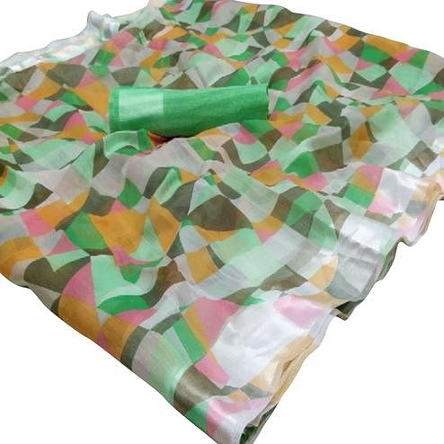 Excellent Green Colored Casual Wear Floral Printed Linen Saree