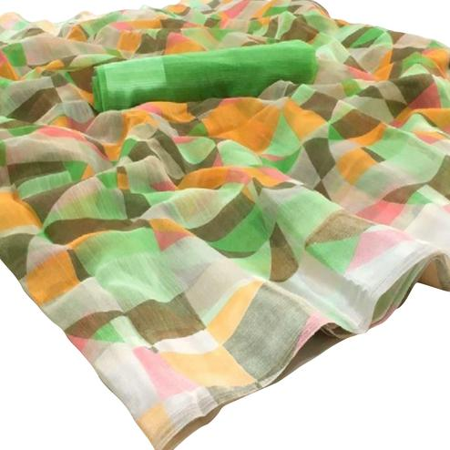 Pretty Multi-Green Colored Casual Wear Floral Printed Linen Saree