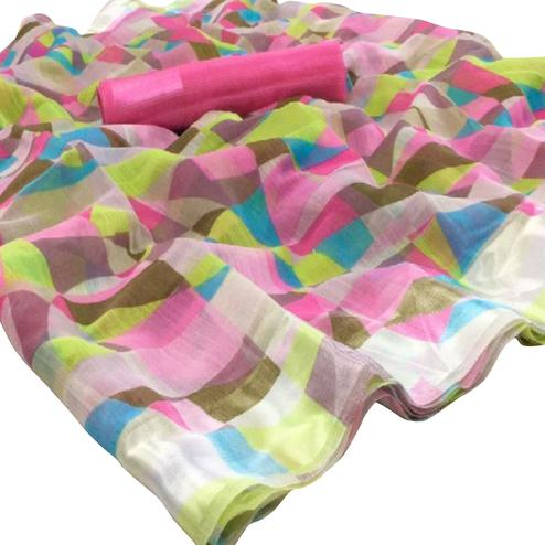 Alluring Multi-Pink Colored Casual Wear Floral Printed Linen Saree