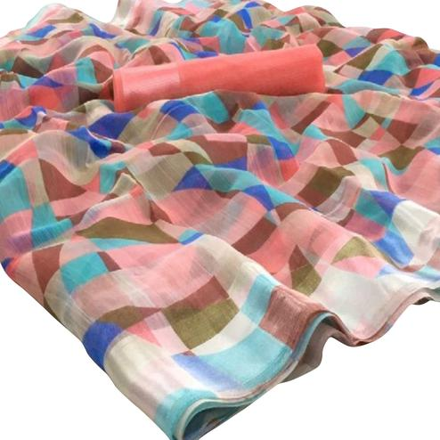 Stunning Multi-Peach Colored Casual Wear Floral Printed Linen Saree