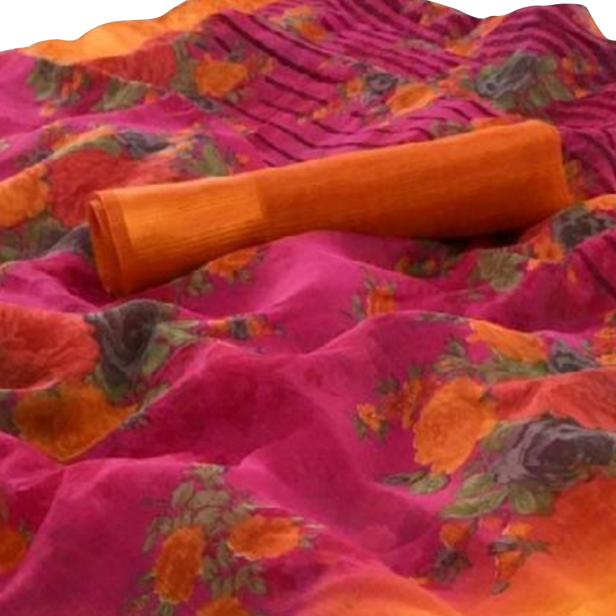 Classy Pink-Orange Colored Casual Wear Floral Printed Linen Saree