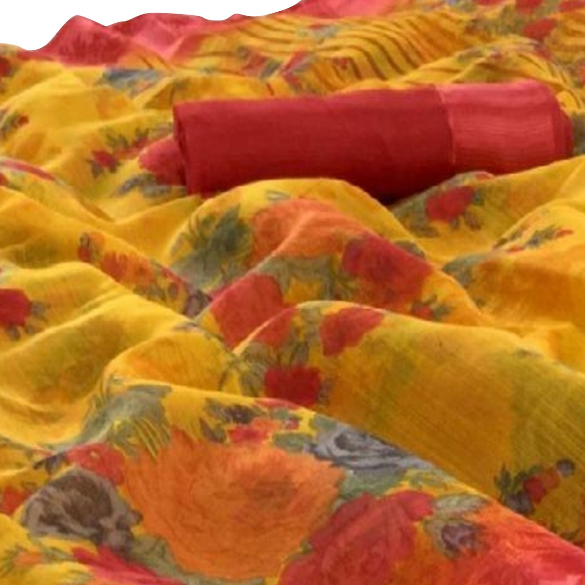 Appealing Yellow Colored Casual Wear Floral Printed Linen Saree