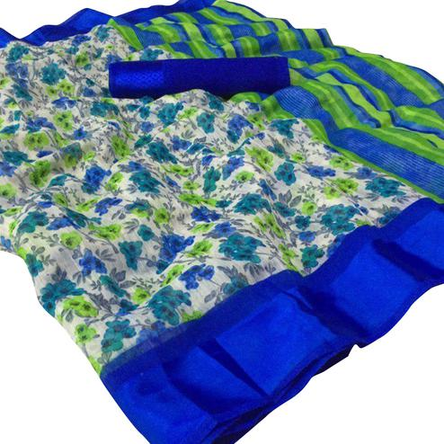 Capricious Blue Colored Casual Wear Floral Printed Linen Saree