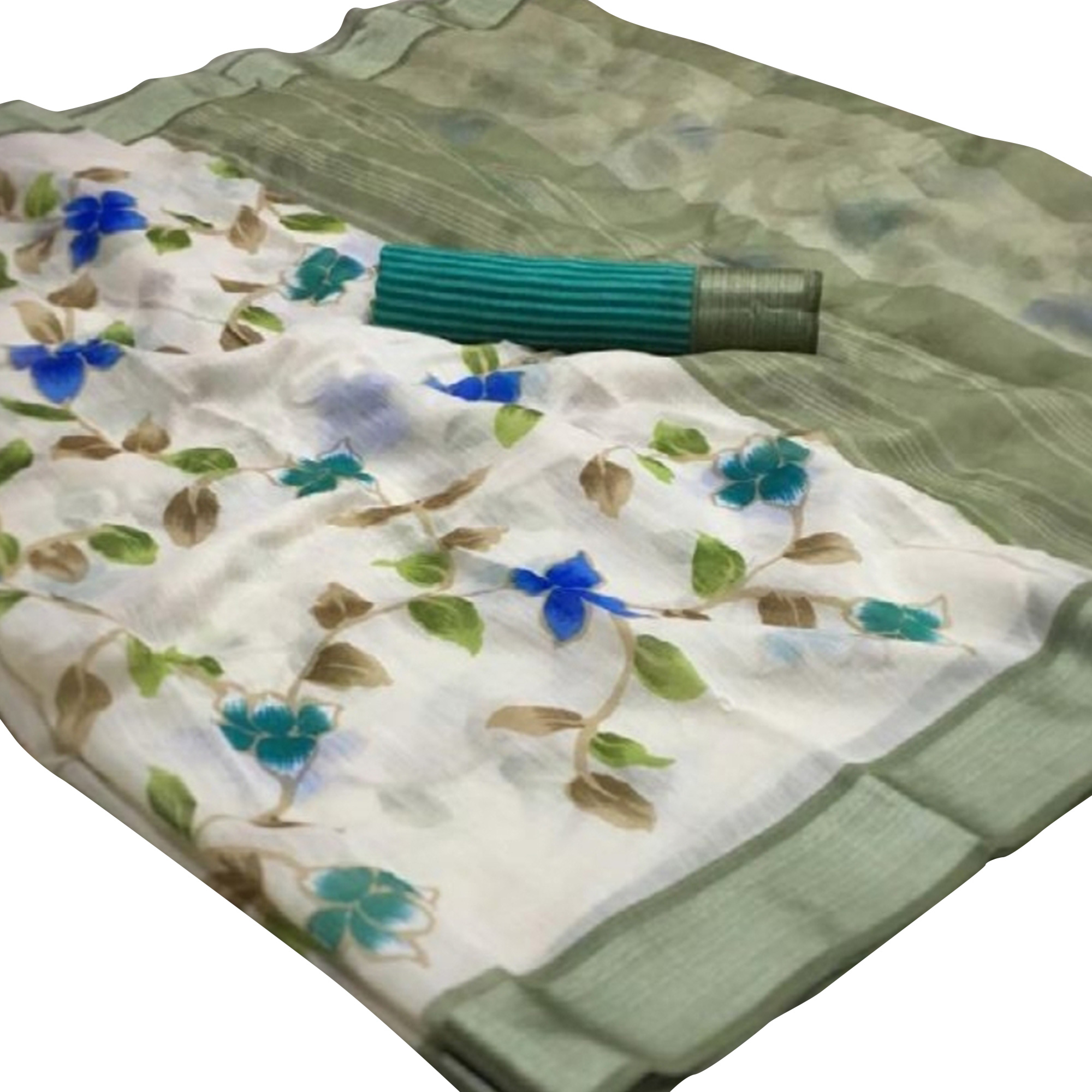 Groovy White-Green Colored Casual Wear Floral Printed Linen Saree