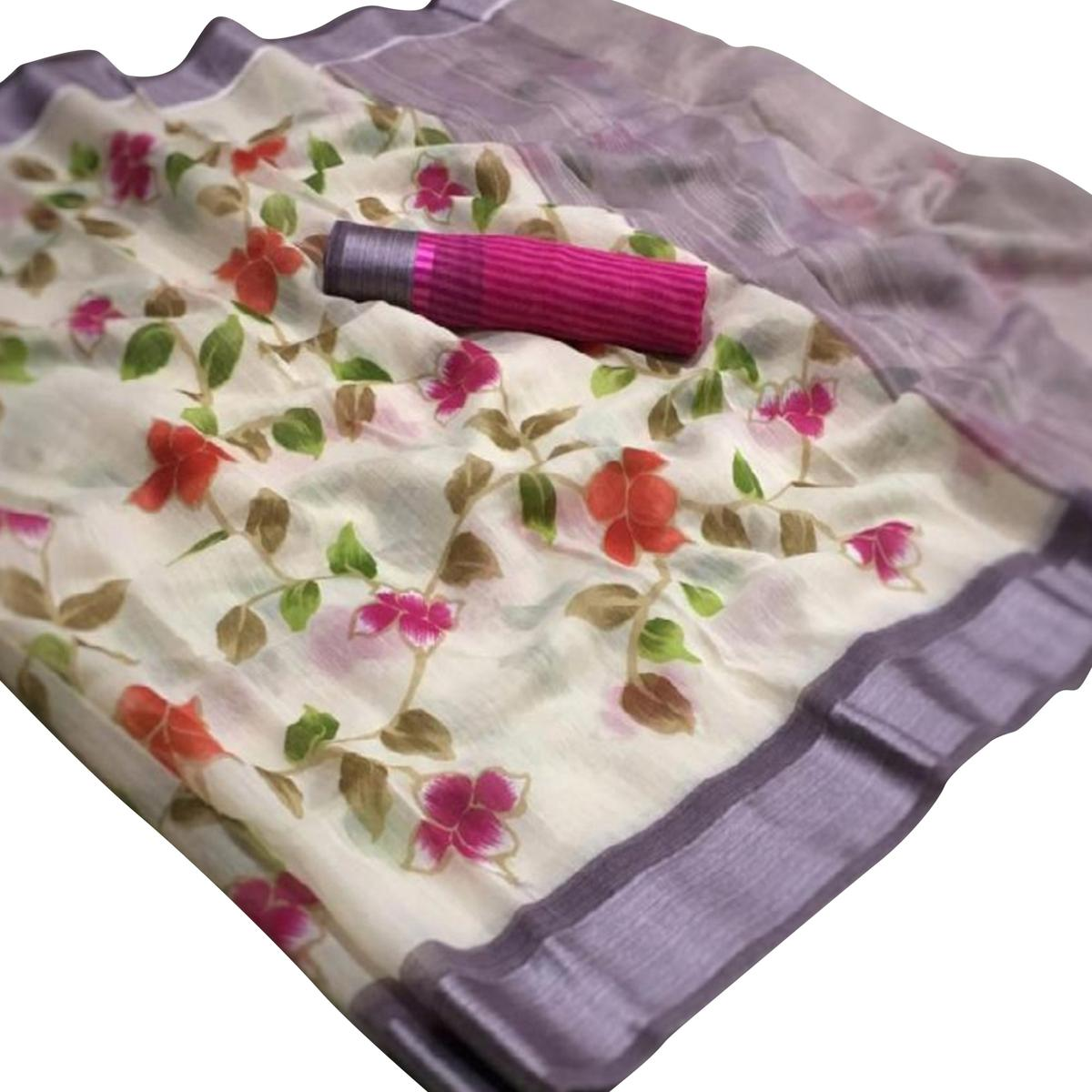 Adorning White-Pink Colored Casual Wear Floral Printed Linen Saree