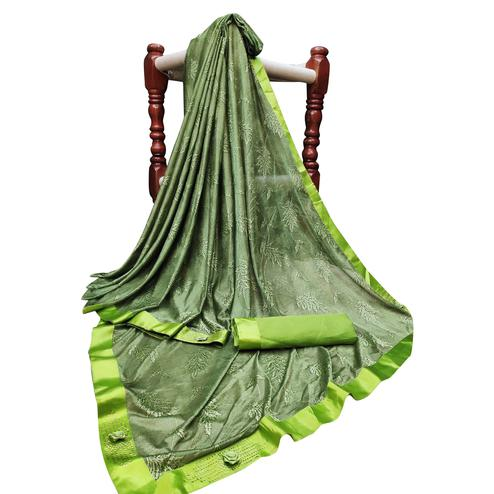 Marvellous Olive Green Colored Partywear Jacquard Saree