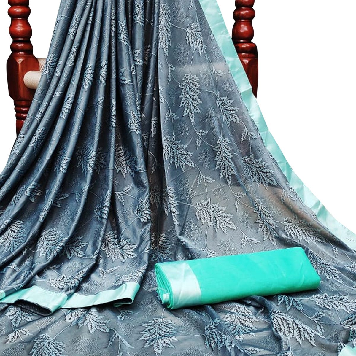 Pretty Grey Colored Partywear Jacquard Saree