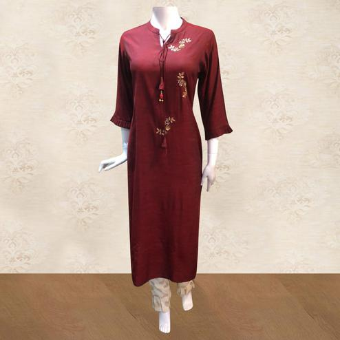 Surpassing Maroon Colored Partywear Handwork Cotton Kurti-Pant Set