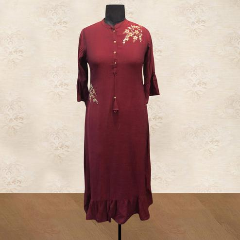 Mesmerising Maroon Colored Partywear Floral Handwork Cotton Long Kurti