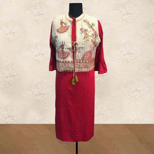 Pleasance Red Colored Partywear Cotton Long Kurti With Embroidered Jacket