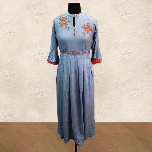 Breathtaking Bluish Grey Colored Partywear Floral Handwork Cotton Long Kurti