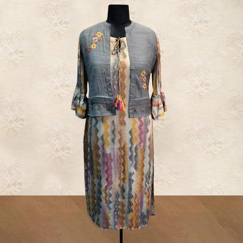 Ravishing Multi Colored Partywear Printed Cotton Long Kurti With Embroidered Jacket
