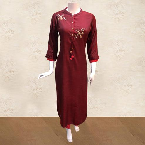 Staring Maroon Colored Partywear Floral Handwork Cotton Kurti-Pant Set