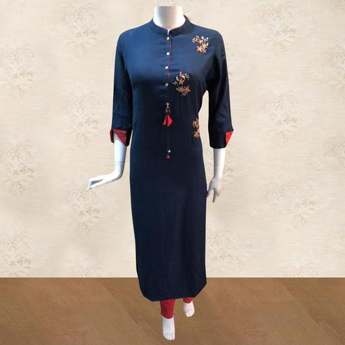 Dazzling Navy Blue Colored Partywear Handwork Cotton Kurti-Pant Set