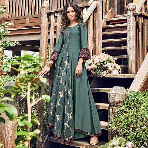 Glorious Teal Grey Colored Party Wear Printed Modal-Jacquard Long Kurti