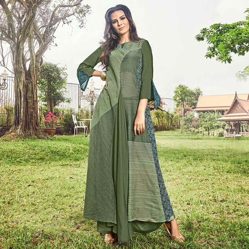 Attractive Green Colored Party Wear Printed Modal-Jacquard Long Kurti