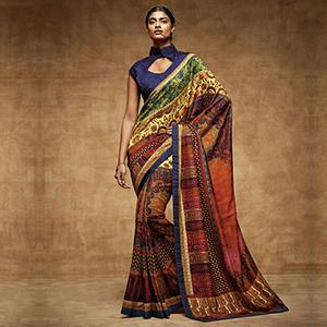 Multicolored Digital Print Work Saree
