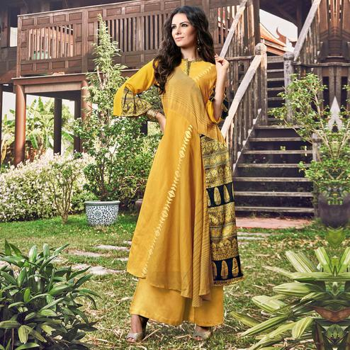 Beautiful Yellow Colored Party Wear Printed Modal-Jacquard Long Kurti