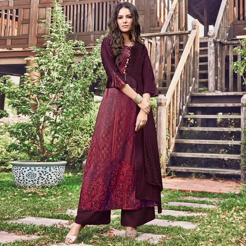 Graceful Wine Colored Party Wear Printed Modal-Jacquard Long Kurti