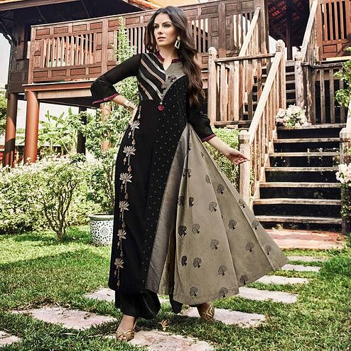 Charming Black Colored Party Wear Printed Modal-Jacquard Long Kurti