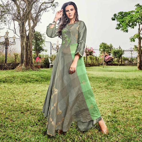 Delightful Grey Colored Party Wear Printed Modal-Jacquard Long Kurti