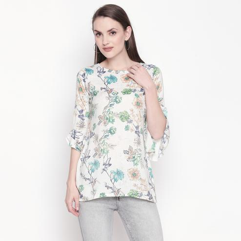 Mesmeric Cream-Green Colored Casual Wear Floral Printed Cotton Top