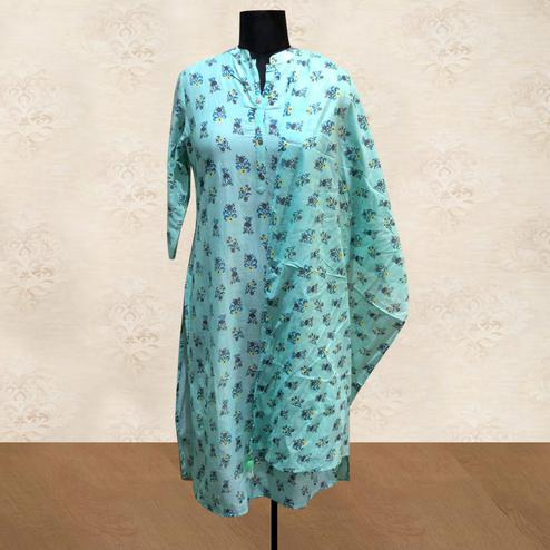 Jazzy Aqua Blue Colored Casual Floral Printed Cotton Kurti With Dupatta