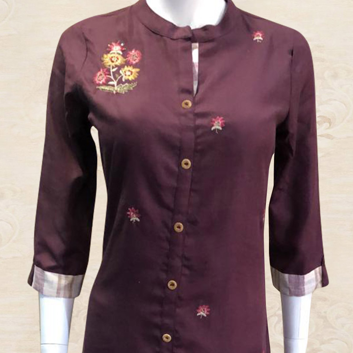 Delightful Maroon Colored Partywear Floral Embroidered Cotton Kurti-Palazzo Set With Dupatta
