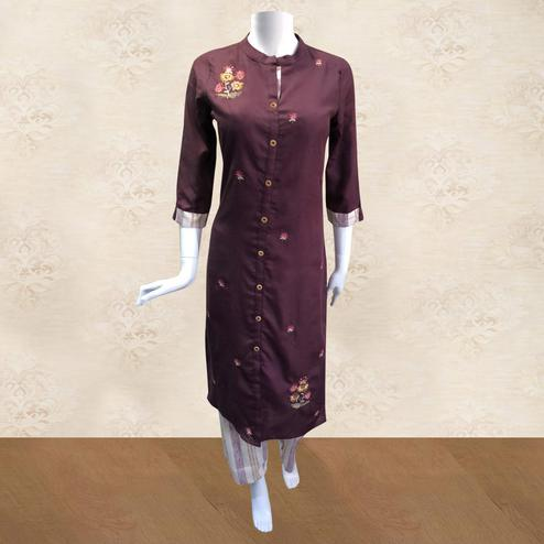 Delightful Maroon Colored Partywear Floral Embroidered Cotton Kurti-Palazzo Set
