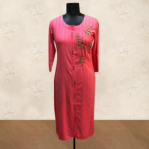 Engrossing Pink Colored Partywear Floral Handwork Cotton Kurti
