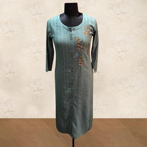 Captivating Grey Colored Partywear Floral Handwork Cotton Kurti