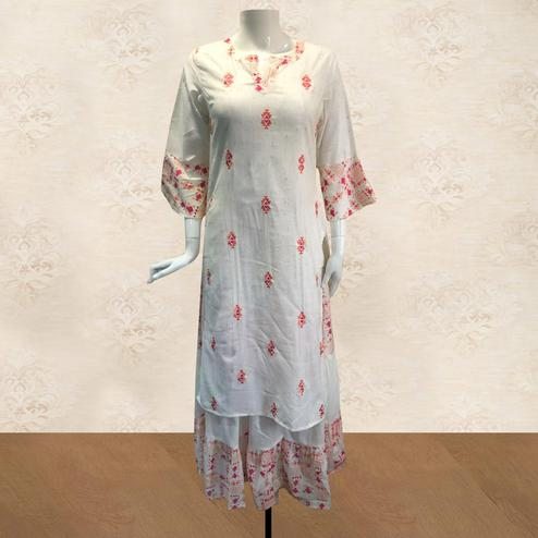 Exotic White Colored Partywear Printed Cotton Kurti-Skirt Set
