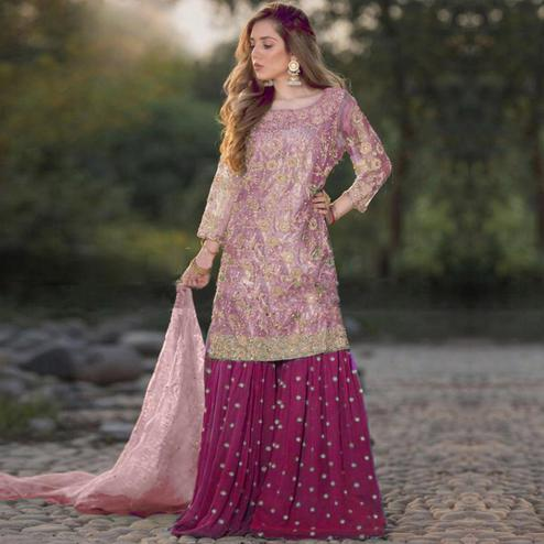 Radiant Magenta Pink Colored Party Wear Embroidered Net Palazzo Suit