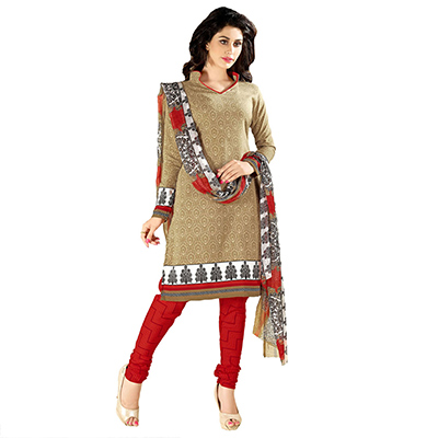 Beige - Red Printed Cotton Suit