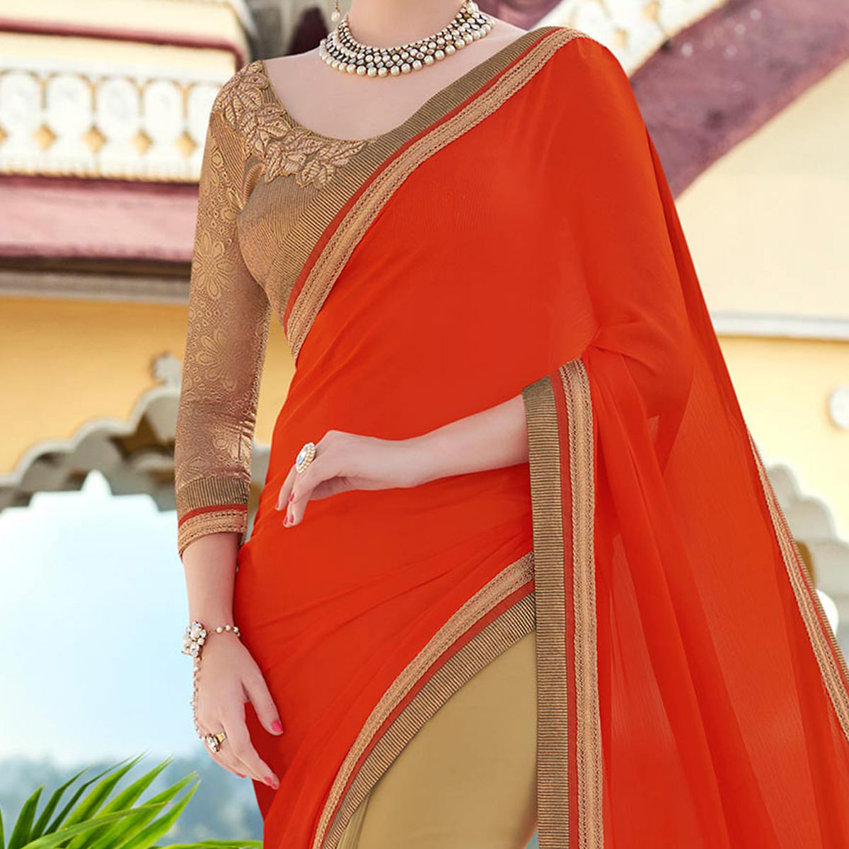 Orange - Beige Georgettte Half & Half Saree