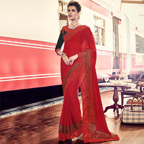 Red Moss Chiffon Designer Saree