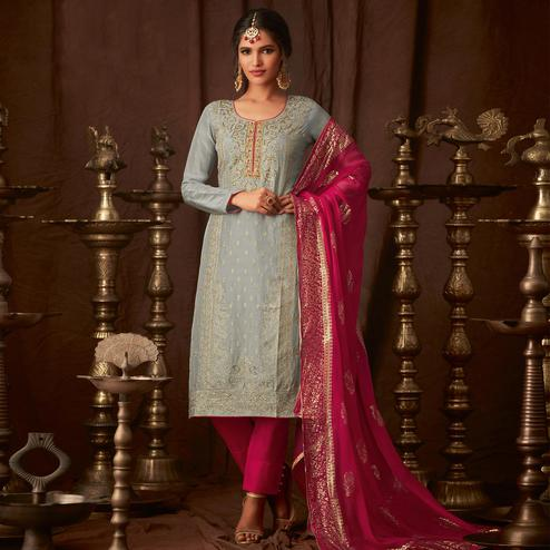 Intricate Grey Colored Party Wear Embroidered Georgette Straight Pant Suit