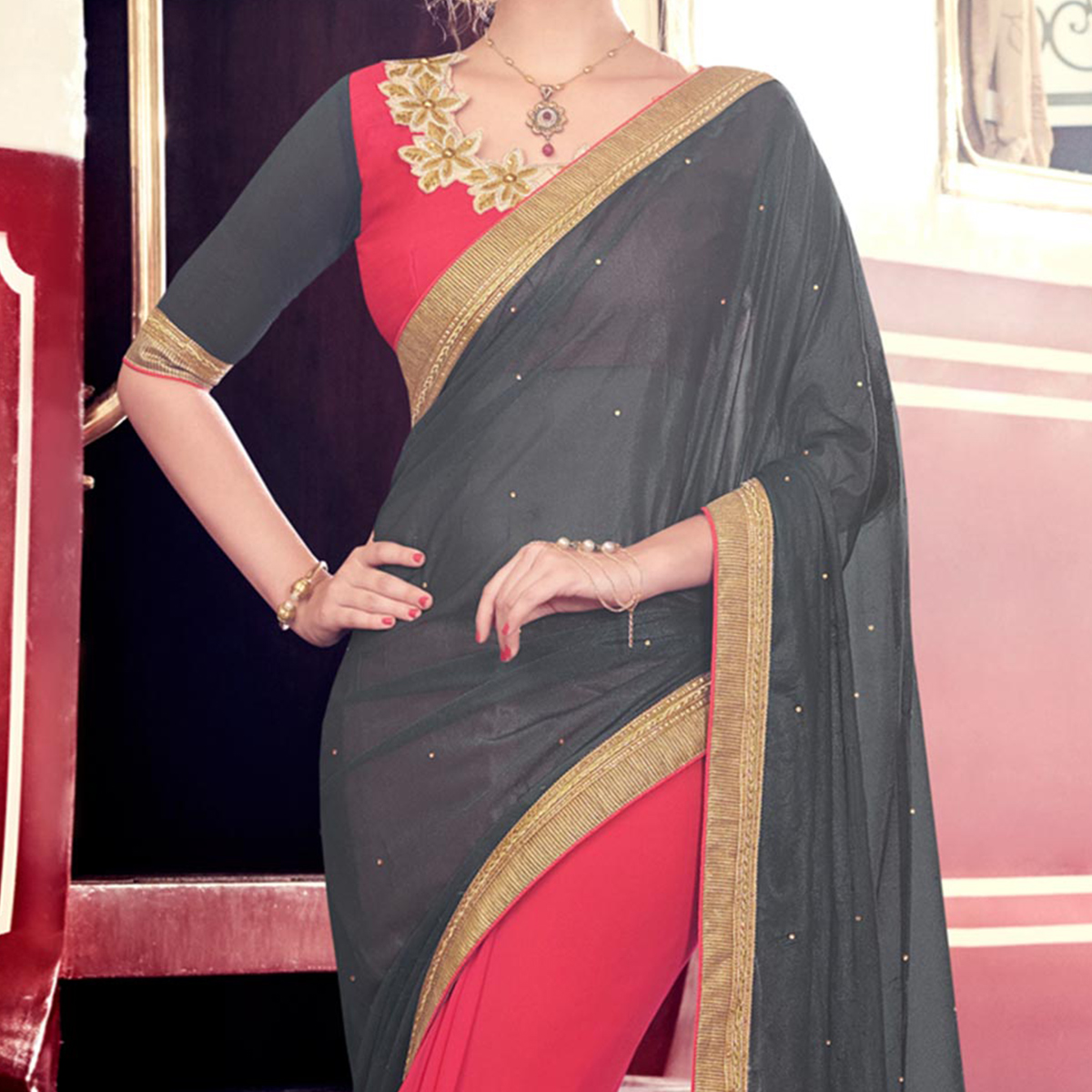 Grey - Pink Half & Half Saree