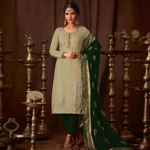 Trendy Pastel Green Colored Party Wear Embroidered Georgette Straight Pant Suit
