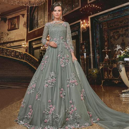Blooming Grey Colored Partywear Embroidered Soft Net Anarkali Suit
