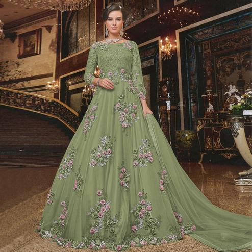 Sophisticated Pista Green Colored Partywear Embroidered Soft Net Anarkali Suit