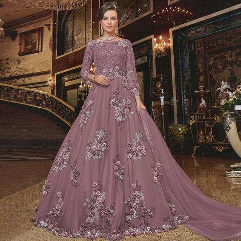 Entrancing Pink Colored Partywear Embroidered Soft Net Anarkali Suit