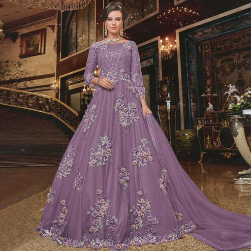 Capricious Purple Colored Partywear Embroidered Soft Net Anarkali Suit