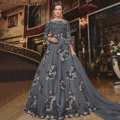 Arresting Dark Grey Colored Partywear Embroidered Soft Net Anarkali Suit