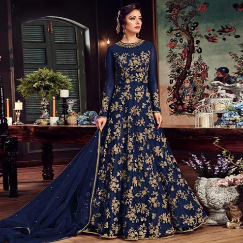 Blooming Navy Blue Colored Partywear Embroidered Netted Anarkali Suit