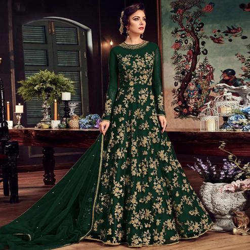 Charming Dark Green Colored Partywear Embroidered Netted Anarkali Suit
