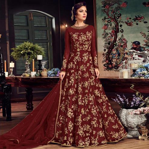 Jazzy Maroon Colored Partywear Embroidered Netted Anarkali Suit