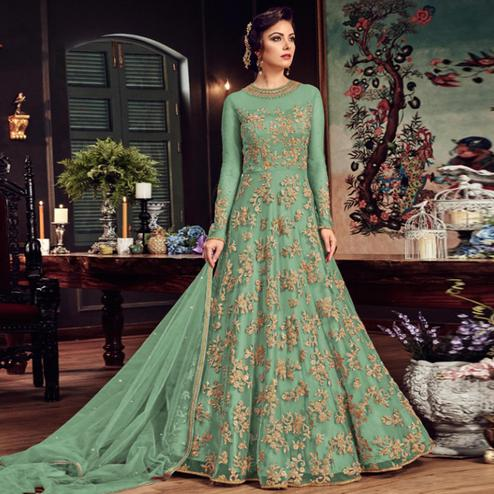 Delightful Moss Green Colored Partywear Embroidered Netted Anarkali Suit