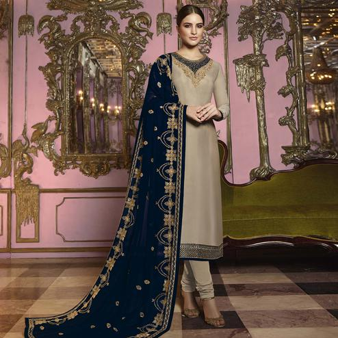 Appealing Beige Colored Partywear Embroidered Georgette Suit