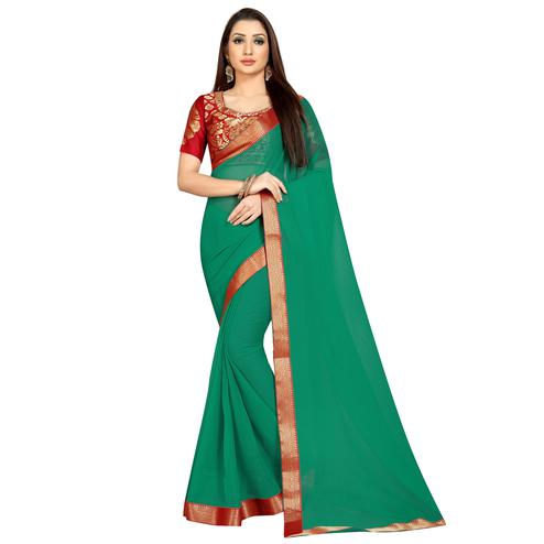 Radiant Turquoise Green Colored Partywear Chiffon Saree